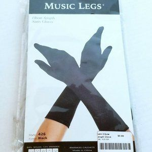 Music Legs Black Satin Elbow Length Gloves #426